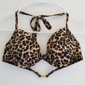 Victoria's Secret Push Up Leopard Print Bikini Top